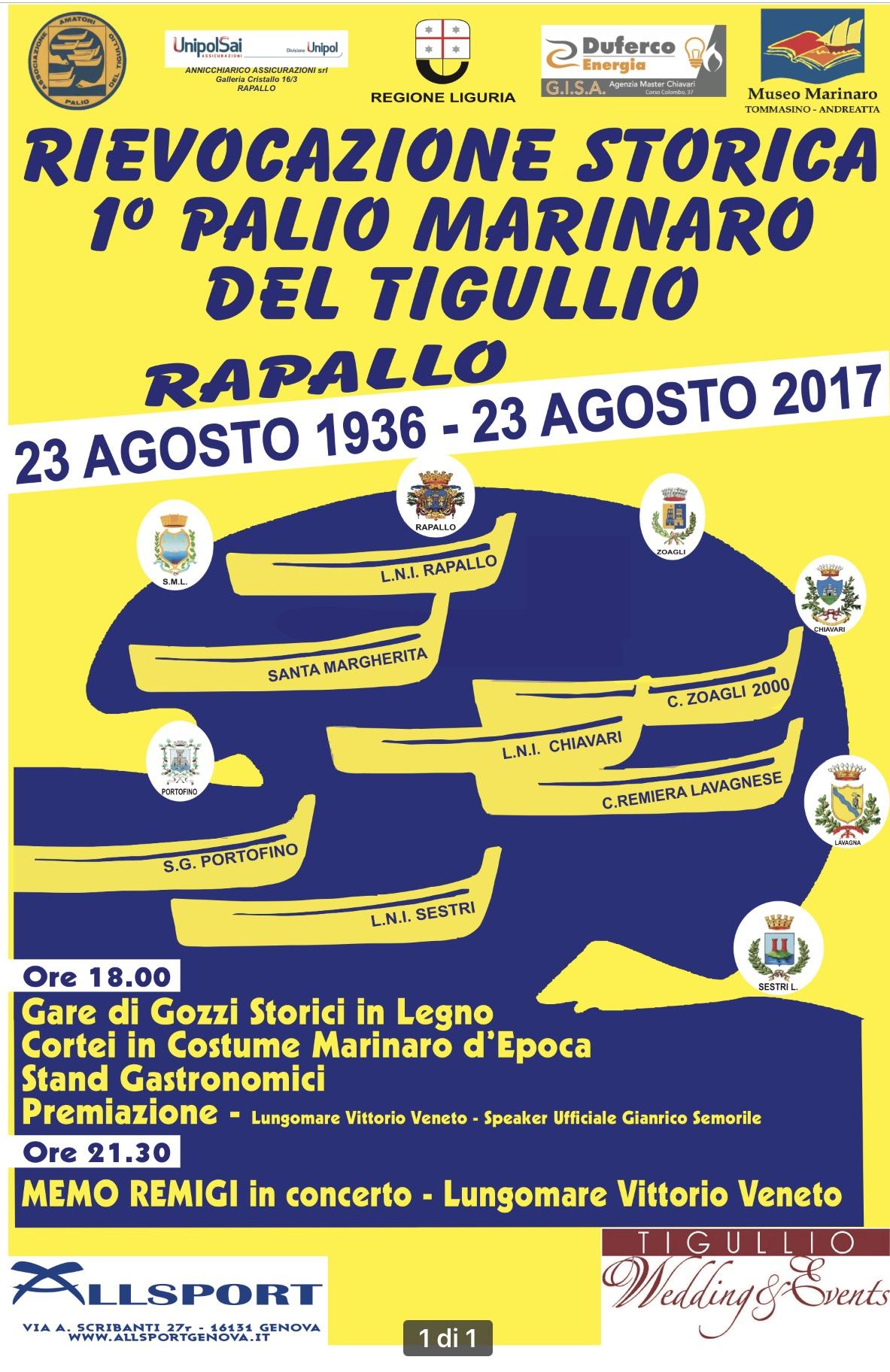 2° edizione per la Rievocazione storica del Palio Marinaro del Tigullio e concerti Memo Remigi e Gioacchino Costa.