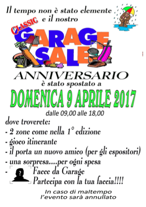 "GARAGE SALE ""ANNIVERSARIO"""